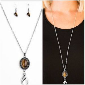 Canyon Climb Brown Lanyard & Earrings Set